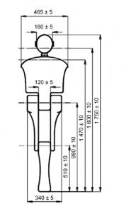 medidas de muñeco de ensayo para prueba de cinturón de seguridad para embarazadas