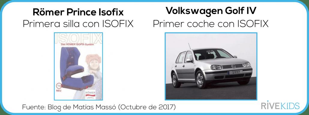 primera silla de niño con isofix y primer coche, volkswagen golf IV con isofix