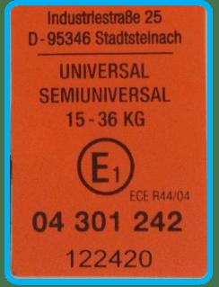 etiqueta que indica homologación de pruebas de ensayo en sillas de coche del grupo 2 3