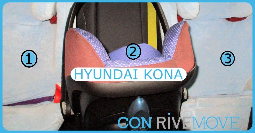 imagen de tres sillas instaladas en un hyundai kona con rivemove