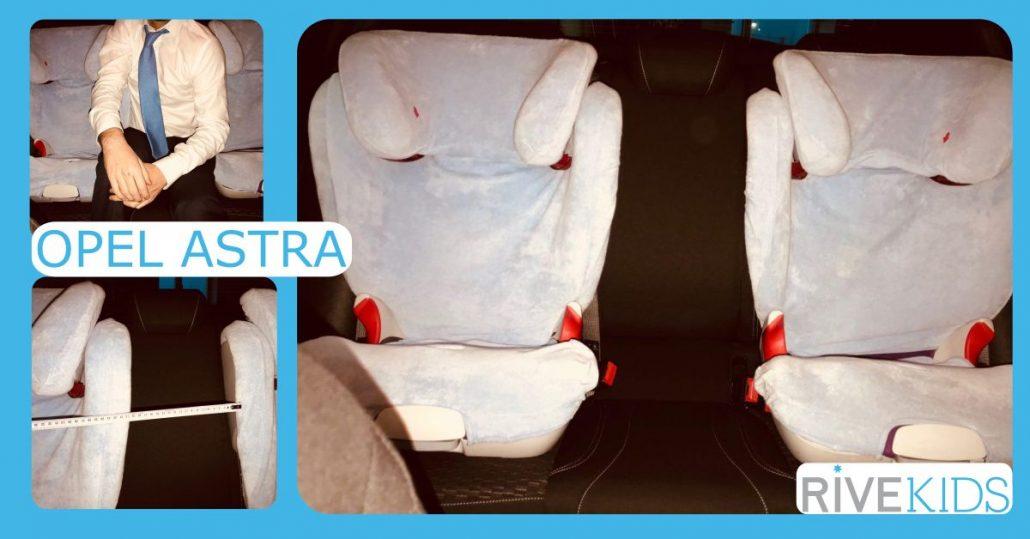 Ejemplo en imagen de cómo un adulto no puede viajar entre dos sillas de coche sin anclaje rivemove