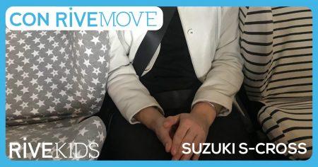 2 sillas y una persona con rivemove en un suzuki cross con isofix