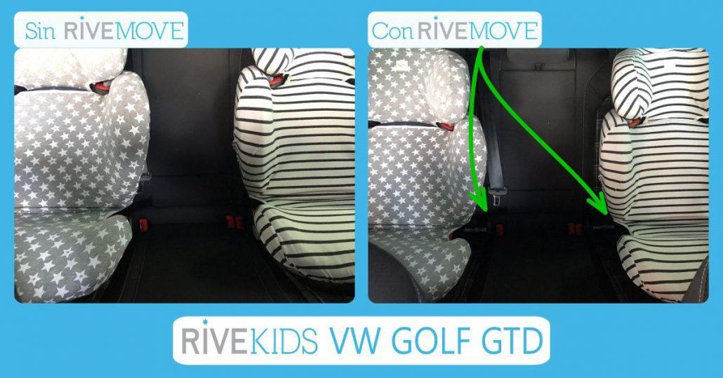 comparativa del espacio que se gana en la parte de atrás de un coche son el sistema rivemove para instalar 3 sillas en un volkswagen