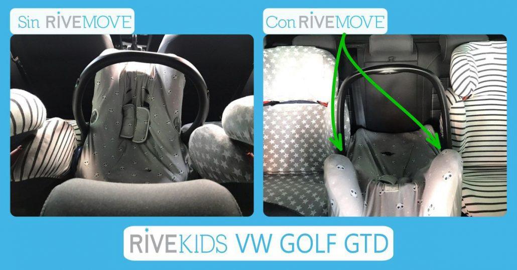 imagen comparativa de como se vería la parte de atrás al intentar instalar 3 sillas en un volkswagen sin y con rivemove