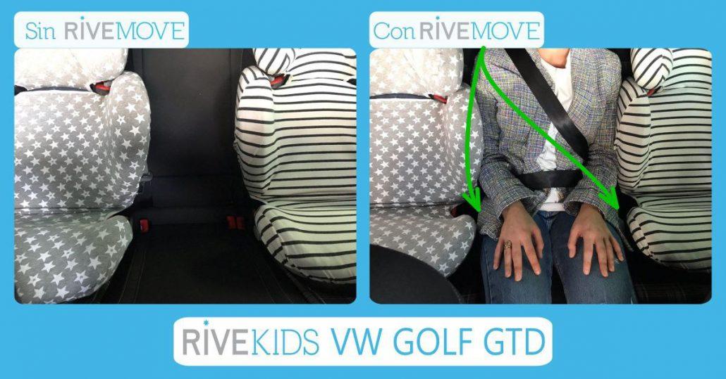 imagen comparativa del espacio que tiene una persona adulta entre dos sillas infantiles sin rivemove y con rivemove