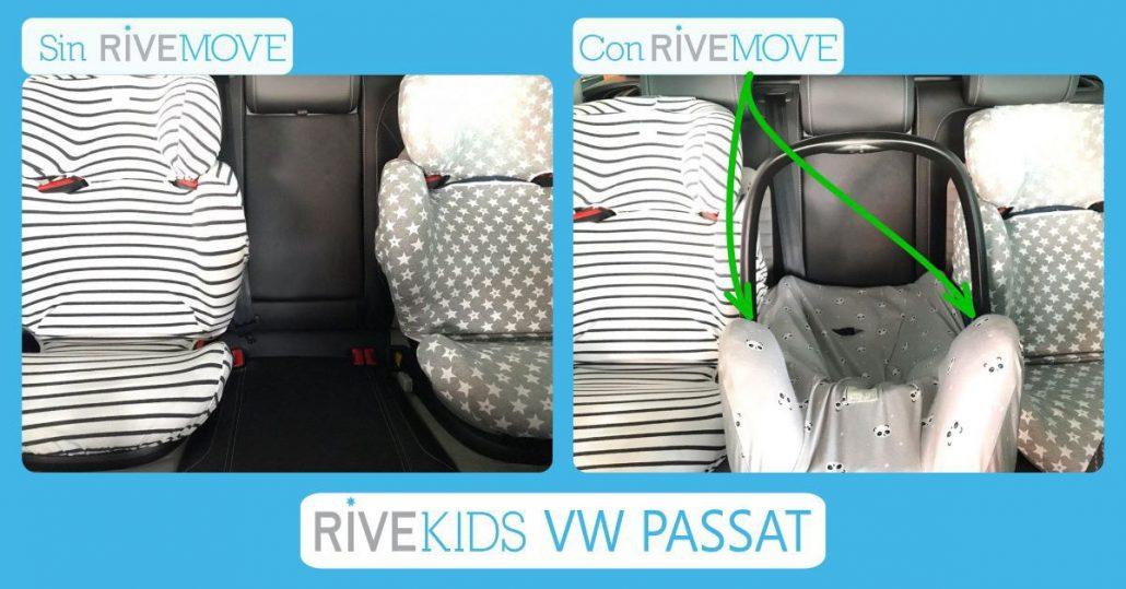 imagen de como entran 3 sillas de auto en un volkswagen passat
