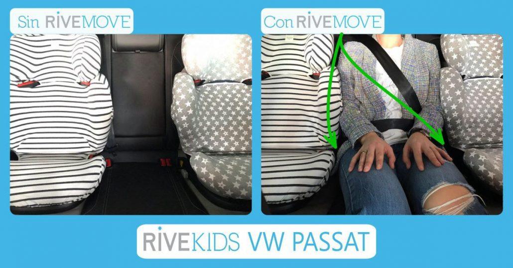 imagen comparativa de como un adulto puede viajar entre dos sillas de auto gracias a rivemove