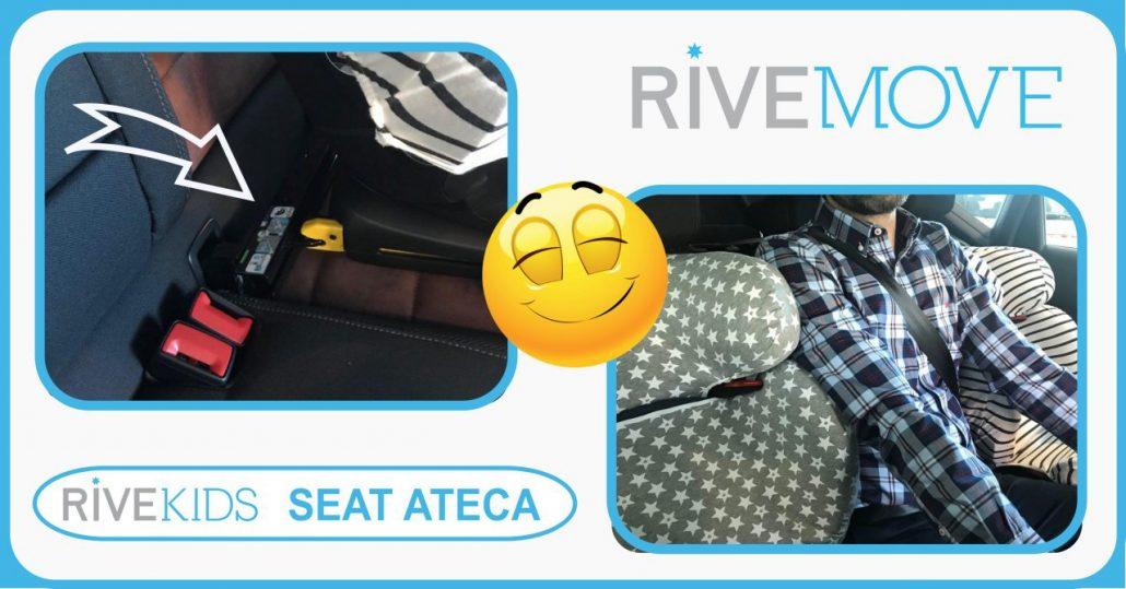 imagen de como un adulto puede viajar entre dos sillas infantiles usando el sistema de fijación rivemove