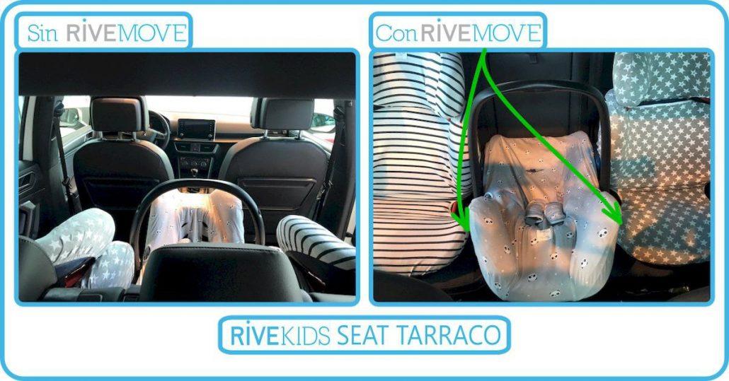 imagen desde de la parte de atrás de un seat tarraco con 3 sillas infantiles instaladas con isofix