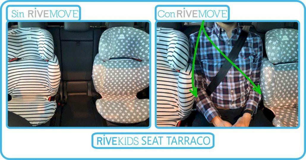 imagen de cómo un adulto puede viajar en la parte de atrás de un seat tarraco gracias al sistema isofix