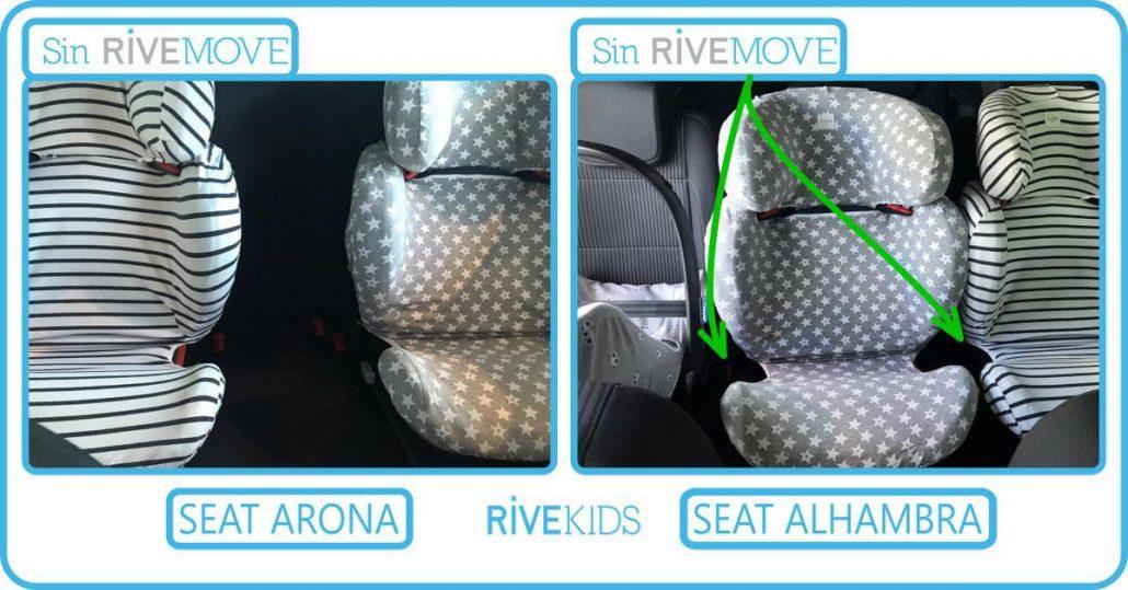 tres sillas instaladas en la parte de atrás de un seat alhambra sin rivemove