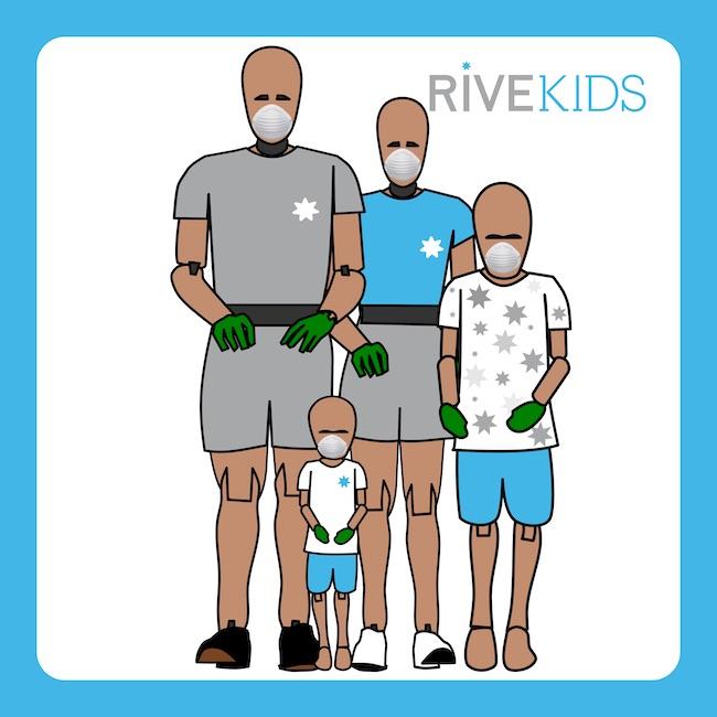 familia dummy mascarilla guantes rivekids