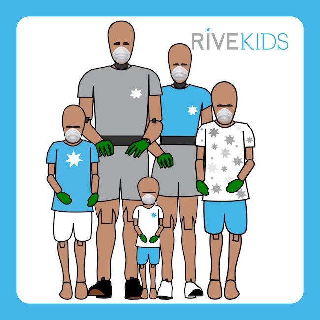 familia dummies mascarilla guantes rivekids