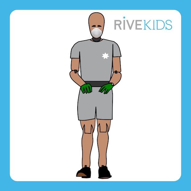 dummy hybridIII 5th male mascarilla guantes rivekids
