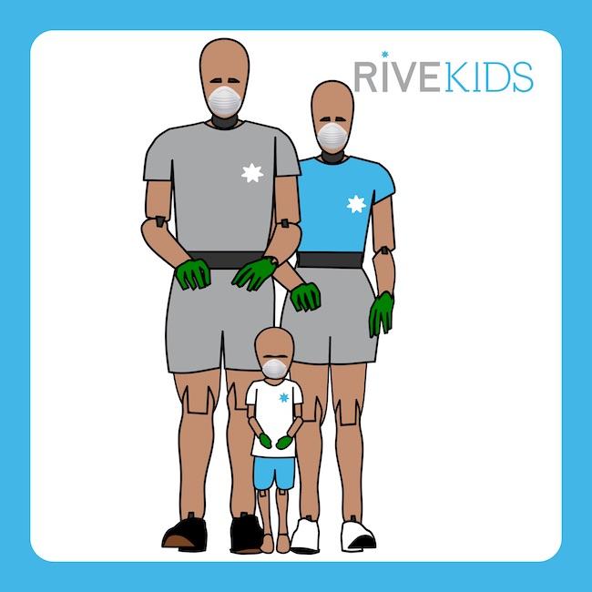 dummy q14 2 & hybridIII 5th mascarilla guantes rivekids